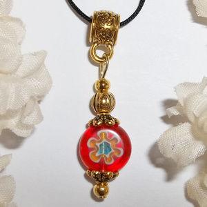 Pretty Orange Gold Flower Necklace Glass NWT 6246